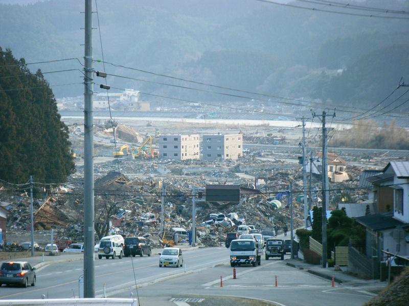 震災直後の大石地区